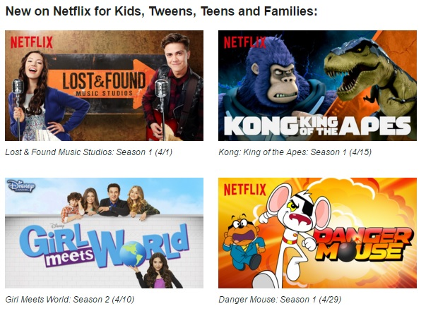 #StreamTeam - April 2016 - New on Netflix for kids, tweens, teens, and families