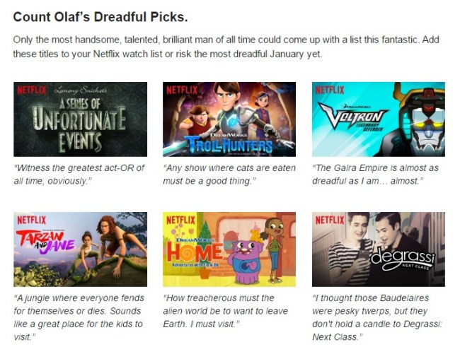 Netflix #StreamTeam [ad] Count Olaf's Picks