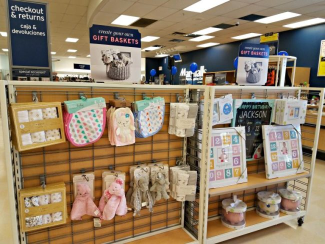 Baby items to create gift baskets at Marshall's