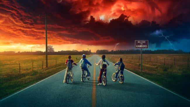 Stranger Things cast on bikes Netflix #StreamTeam