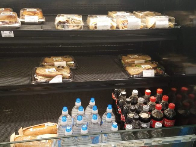 sandwiches and drinks at Schnucks store