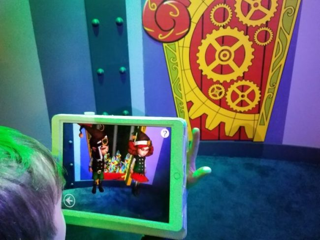 Tablet using Elf Ray Vision app at Santa HQ