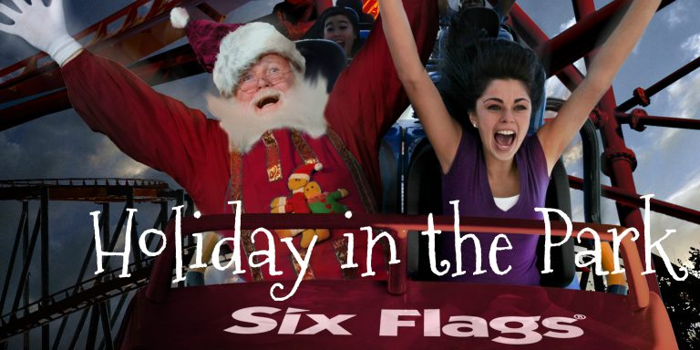 Santa on a roller coaster at Six Flags Great America