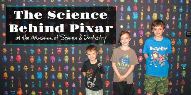 Monsters of Pixar backdrop with kids at MSI