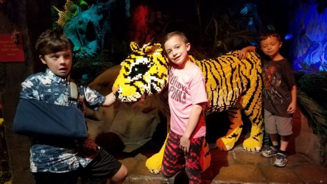 Boys with LEGO tiger