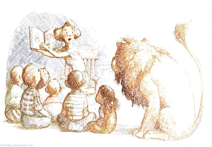 Listening to story time - New York books -The Library Lion