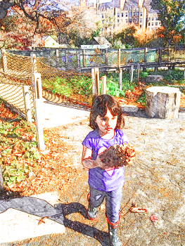 Finding enormous pine cones in the Discovery Garden, Brooklyn Botanic Garden