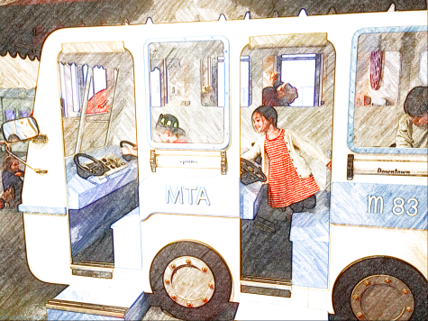 Model MTA bus at the Children's Museum of Manhattan