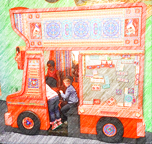 Popular traditional Pakistani bus, complete with fun magnetic walls to decorate with designs copied from real buses - Children's Museum of Manhattan