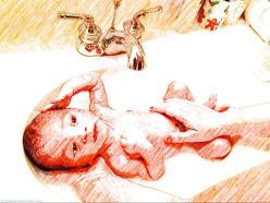 Washing Baby J in the bathroom basin