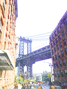 Looking up at Brooklyn Bridge from DUMBO