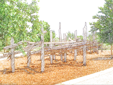 Large climbing frame aimed at older kids, Hammock Grove, Governors Island