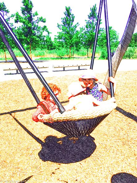 Fun cradle swings at Hammock Grove playground, Governors Island
