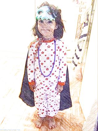 B dressed as super hero