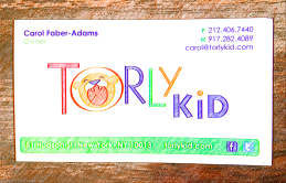 Torly Kid business card, 51 Hudson St, Tribeca, NYC