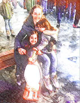 The girls and the Penguin, Bryant Park Winter Village