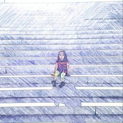 Roosevelt Island - B on steps - FDR Four Freedoms Park