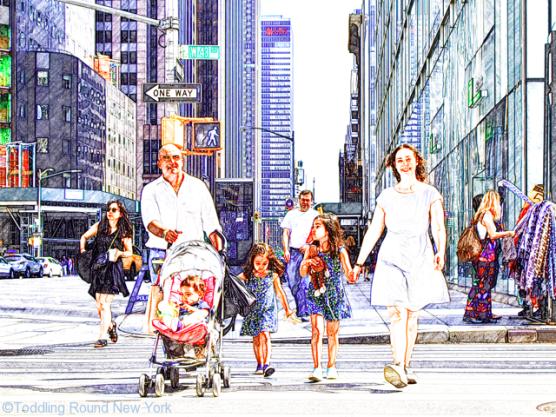 Kay Bermudez photo shoot - the DCs walking through NYC West 43rd Street - Leaving New York