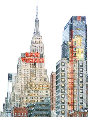 Leaving New York - New Yorker magazine sky scrapers