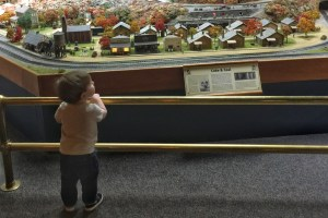 Carnegie science center with a toddler railroad model train