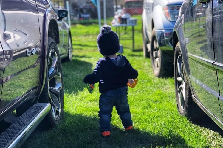 toddler tailgating football game
