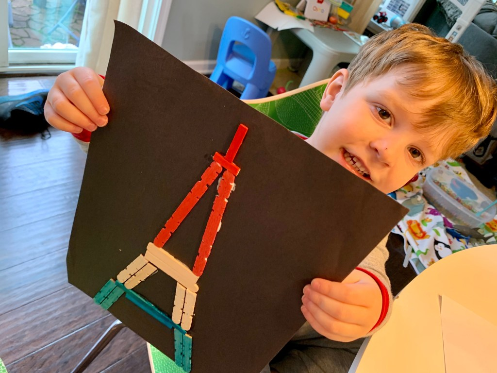 Stay at Home Activities with Toddlers Eiffel Tower Craft Toddling Traveler