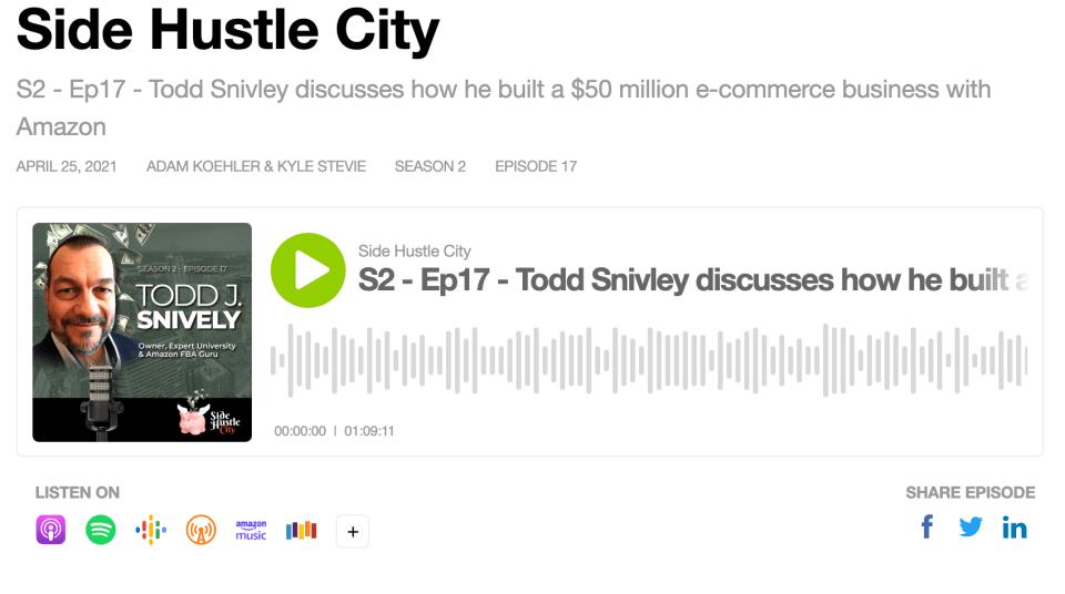 Todd Snively Side Hustle City Podcast