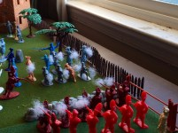The British Grenadiers and Colonists fire point blank.