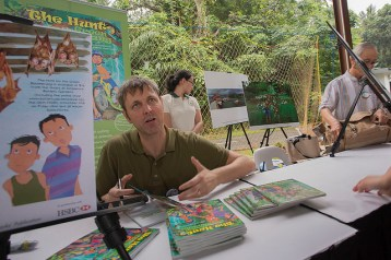Neil Humphreys promoting his new book, The Hunt for the Green Boomerang. Photo by Marcus Ng.