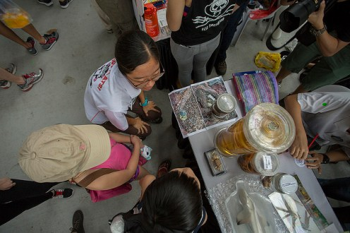 A bird's eye view of our booth and photos of Jubilee's stomach contents. Photo by Marcus Ng.