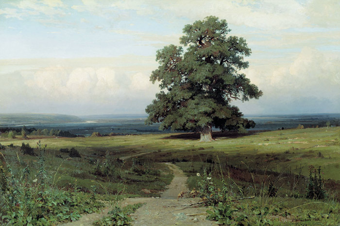 Russian Artist Ivan Shishkin - Among the open valley, oil on canvas (1883)
