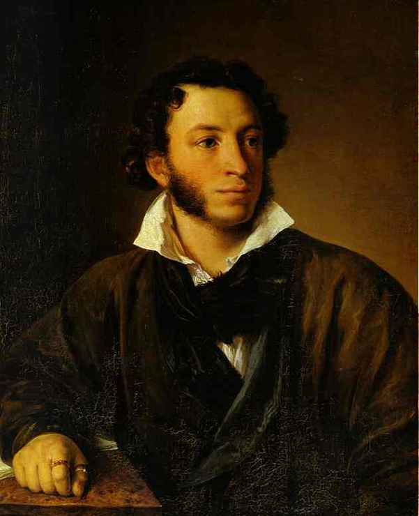 Vasily Tropinin Portrait of A.S. Pushkin, oil on canvas (1827)