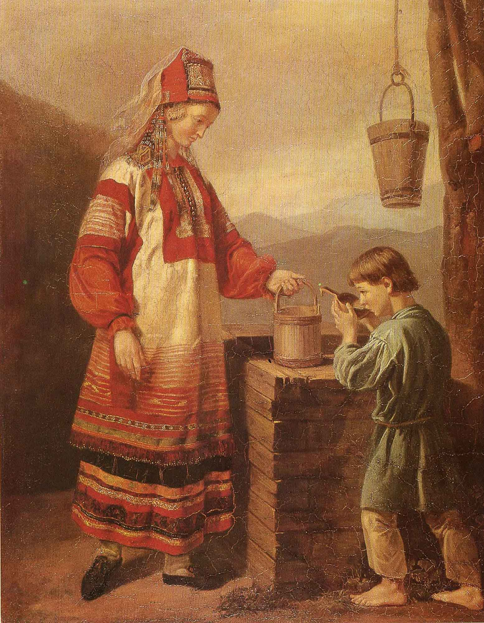 A woman with a boy at the well (the first half of the 19th century). Unknown Artist