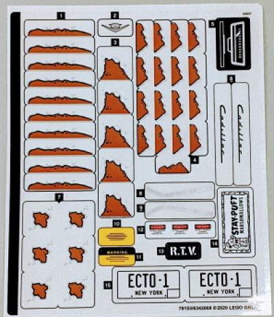 pegatinas del LEGO cazafantasmas 10274