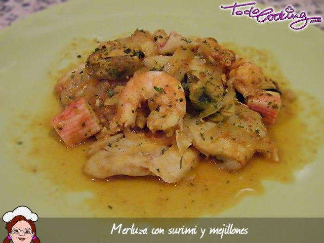 Merluza en salsa de mejillones y gambas