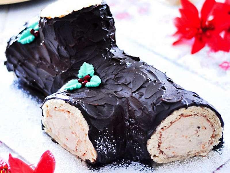 Tronco de Navidad de Turrón y Chocolate