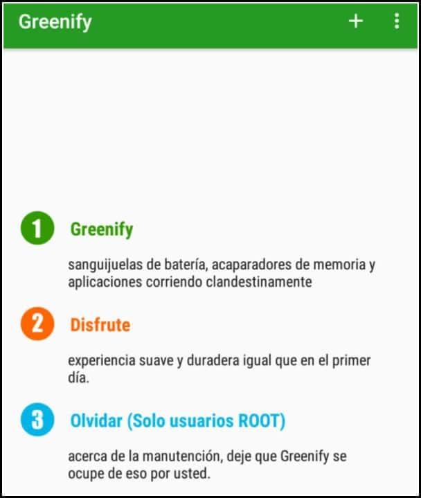pantalla principal Greenify