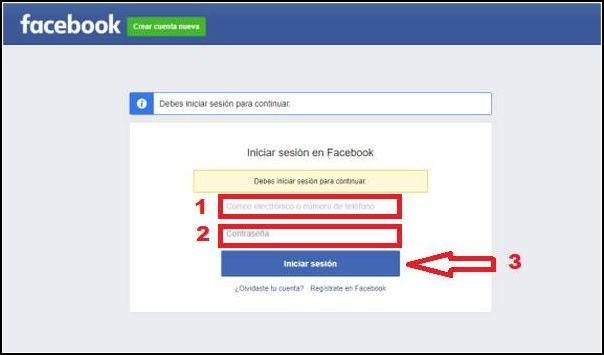 como iniciar sesión en Facebook