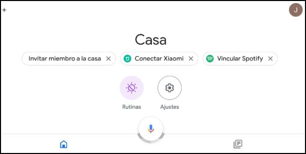 interfaz Google Home