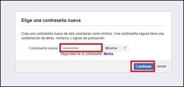 nueva contraseña Facebook