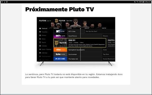 Pluto TV bloqueo país