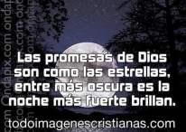 Imágenes cristianas con frases: Las promesas de Dios son como las estrellas