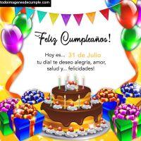 Imágenes de cumpleaños con los días del mes de Julio
