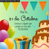 Imágenes de cumpleaños con los días del mes de Octubre