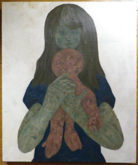 Girl with plush toy / 2012 / oil / 46×38cm