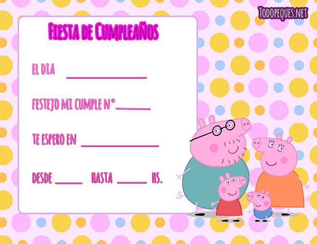 invitaciones de Peppa Pig cumpleanos