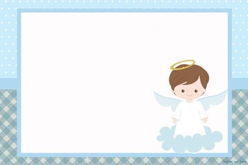 Invitaciones bautismo con angeles