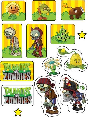 Etiquetas stickers Plantas Vs Zoombies Imprimibles gratis para decoracion cumpleaños