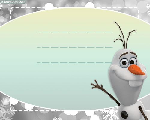 Olaf Frozen tarjetas stickers
