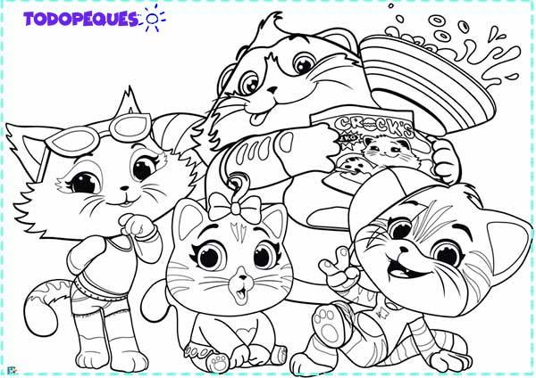 colorear 44 gatos